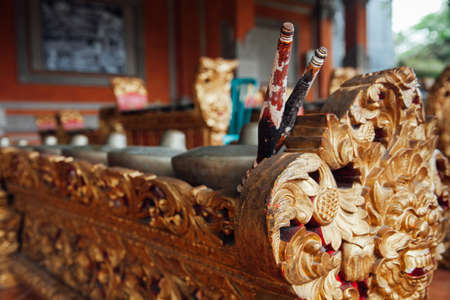 gamelan: Traditional balinese percussive music instruments instruments for Gamelan ensemble music, Ubud, Bali, Indonesia.