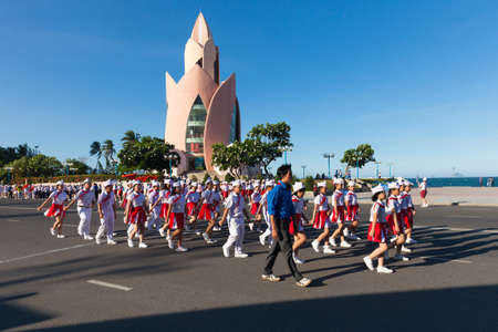 Nha Trang, Vietnam - May 31, 2016: Pioneer children march on the parade at the end of the school year in Nha Trang, Vietnam on May 31, 2016.