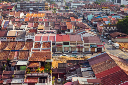 Georgetown, Malaysia - March 27, 2016: Panoramic view over historical part of the Georgetown on March 27, 2016 in Penang, Malaysia. Stock Photo - 58865752