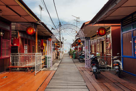 George Town, Malaysia - March 27, 2016: Heritage stilt houses of the Chew Clan Jetty, George Town, Penang, Malaysia on March 27, 2016. Stock Photo - 60879355