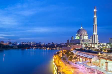 Beautiful pink Putra Mosque at dusk, Putrajaya, Malaysia