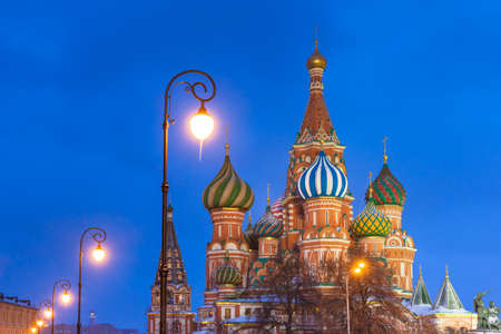 Dusk view of St. Basils Cathedral in winter, Red Square, Moscow, Russia