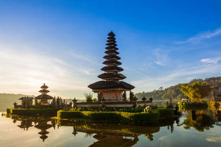 Pura Ulun Danu Bratan at sunrise, famous temple on the lake, Bedugul, Bali, Indonesia. Stock Photo - 67102510