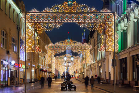 Moscow, Russia - December 18, 2016:  Night view of the Christmas decorations at Nikolskaya street on December 18, 2016 in Moscow, Russia