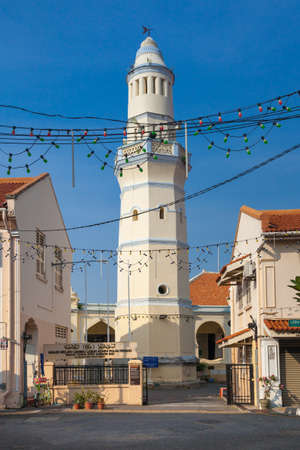 Minaret of the old Lebuh Aceh Mosque, UNESCO heritage site in George Town, Penang, Malaysia.
