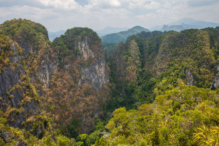 Beautiful limestone hills in Krabi Province, Thailand. View from the Tiger Cave Mountain. Фото со стока