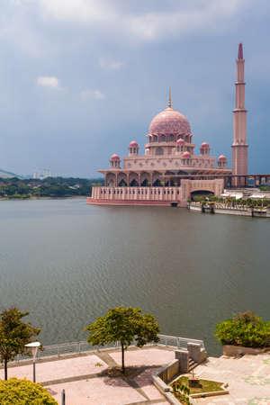 Pink Putra Mosque, Putrajaya, Malaysia.