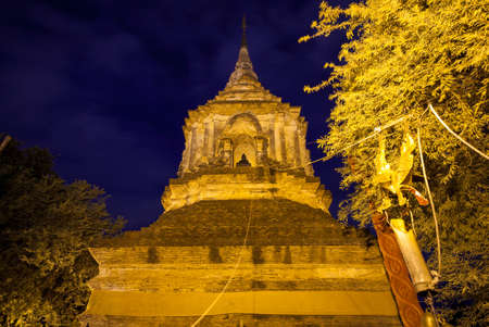 Large chedi at the Wat Lok Molee, one of the oldest temples in Chiang Mai, Thailand