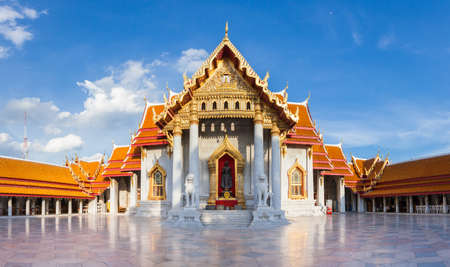 Panorama of Wat Benchamabophit also known as Marble Temple at Sunset on Septemper 10, 2016 in Bangkok, Thailand.