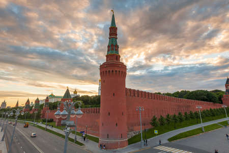 Dramatic sunset over Moscow Kremlin, view from the Bolshoy Kamenny Bridge, Moscow, Russia.