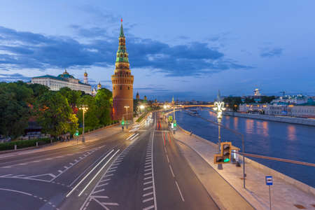 Beautiful dusk view of the Moscow Kremlin from Bolshoy Kamenny Bridge, Moscow, Russia.
