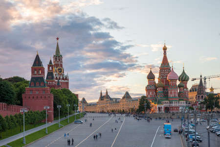 spasskaya: Beautiful sunset view of the Red Square, Moscow, Russia.