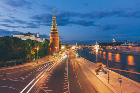 Beautiful dusk view of the Moscow Kremlin from Bolshoy Kamenny Bridge, Moscow, Russia.