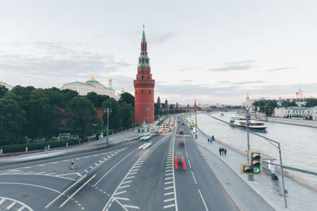 Sunset view of the Moscow Kremlin from Bolshoy Kamenny Bridge, Moscow, Russia.