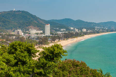 Daytime view of the Karon Beach from the Secret Cliff, Phuket, Thailand.