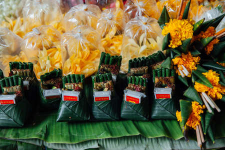 Chiang Mai, Thailand - August 27, 2016:  An offerings stall at the Warorot market on August 27, 2016 in Chiang Mai, Thailand. Фото со стока