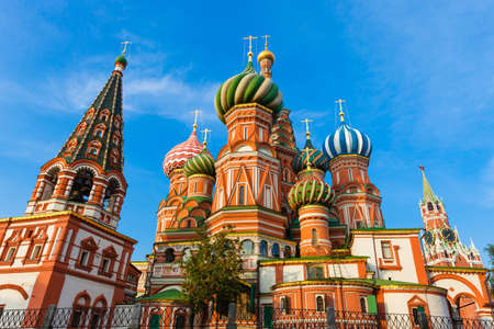 A view of Saint Basils Cathedral in the morning, Red Square, Moscow, Russia
