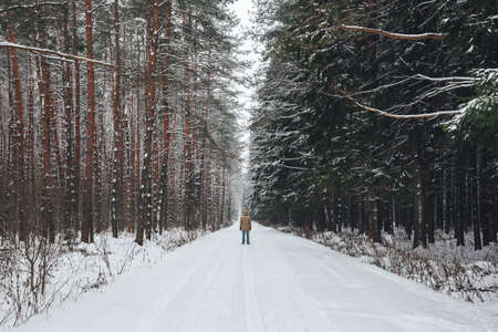 Young man stands on a winter forest road covered with snow