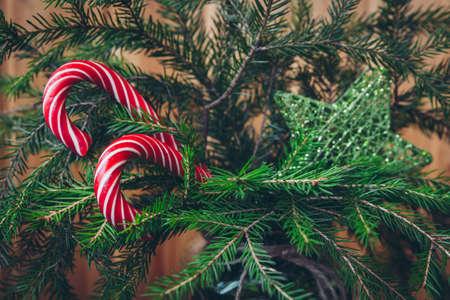 Красные конфеты на естественной елке