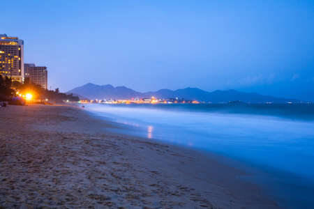 Beautiful view of the Nha trang beach at night, Vietnam Фото со стока