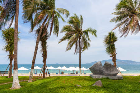 The Nha Trang Beach on a sunny day, the popular tourist destination in Vietnam