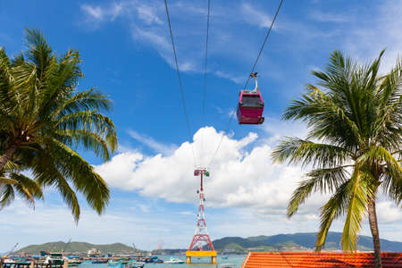 A beautiful daytime view of the Vinpearl Cable Car on in Nha Trang, Vietnam.