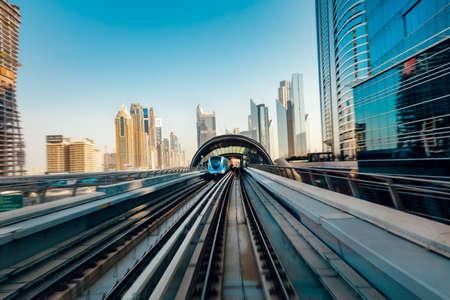View from the moving train at the Dubai Metro, Dubai, UAE