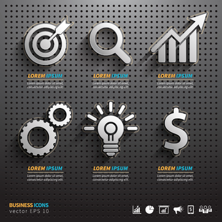 hardware tools: Dark pegboard background with business Tools.