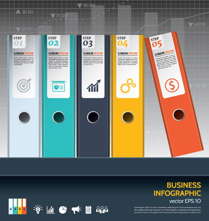 Modern business ring binders illustration steps to success in front of financial graph chart.
