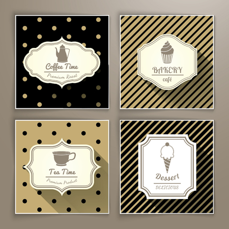 cream tea: Set of vintage labels coffee bakery tea and dessert Illustration