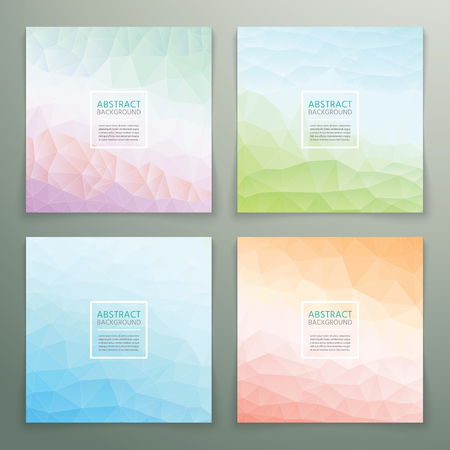 pastel backgrounds: Abstract polygonal with square text background set. Trendy background with pastel colours.