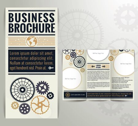 threefold: Business Vintage Brochure Flyer Design Template. Vintage style with classic colours.