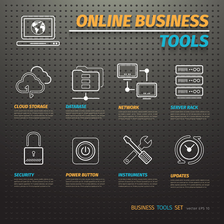 Online business tools on dark pegboard with icons set Illustration