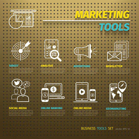 Marketing Tools on Brown Pegboard with icons set Illustration
