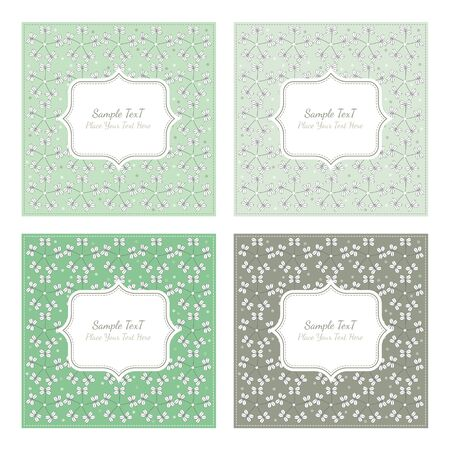 garden frame: Floral pattern square backgrounds in vintage style