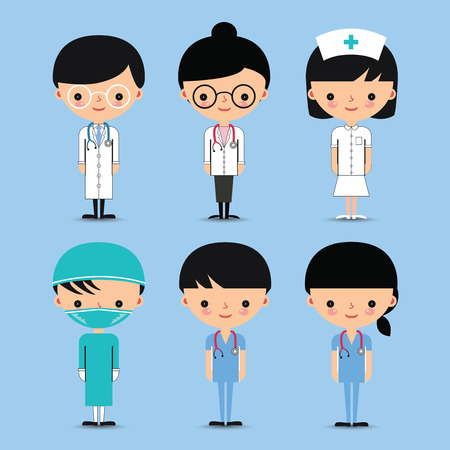 cartoon nurse: Doctor  Nurse. Hospital Medical Team Characters