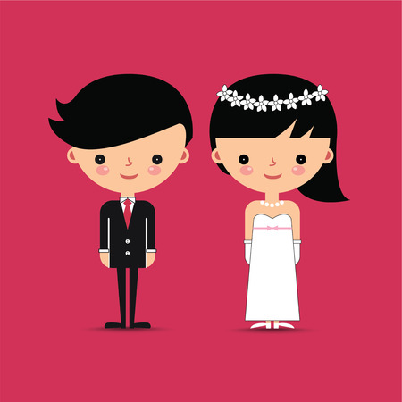 bride and groom illustration: Groom and Bride Characters on Pink Background Illustration