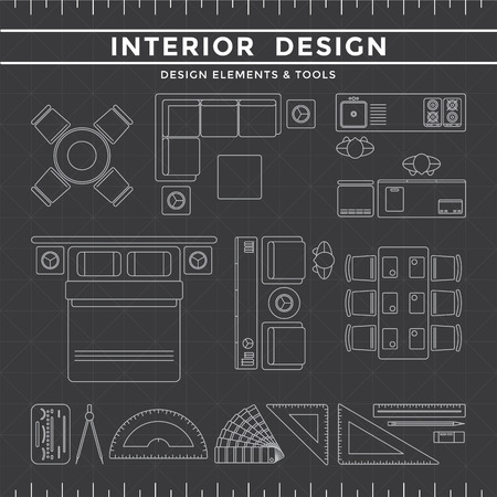 interior plan: Interior Design Elements  Equipment Tools set on Dark Background gray icon line Illustration