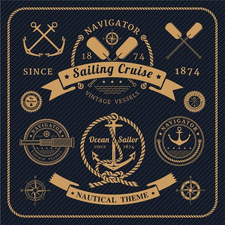 Vintage nautical labels set on dark background. Icons and design elements.