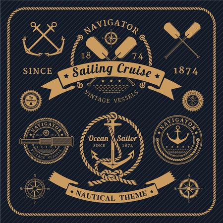 bateau voile: Étiquettes nautiques vintage set sur fond sombre. Icônes et éléments de conception. Illustration
