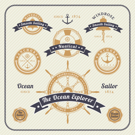 Vintage nautical labels set on light background. Icons and design elements. Vettoriali
