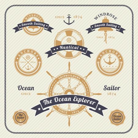 Vintage nautical labels set on light background. Icons and design elements. Stock Illustratie