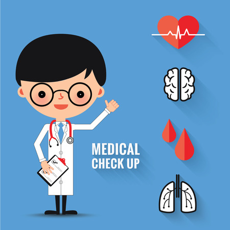 Medical check up with man doctor characters and icons set.