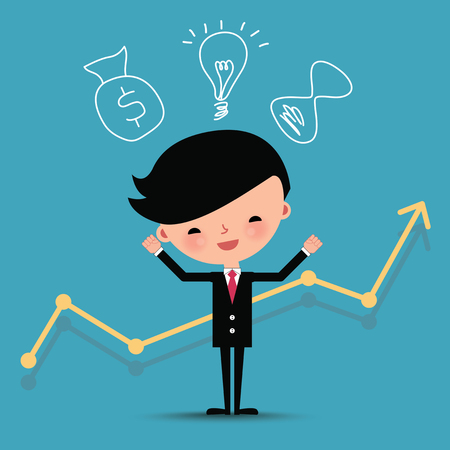 career timing: Happy business man characters with graph line and idea bulb.