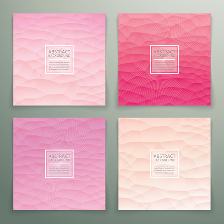 Abstract polygonal with square text red background set. Trendy background pastel colours. Illustration