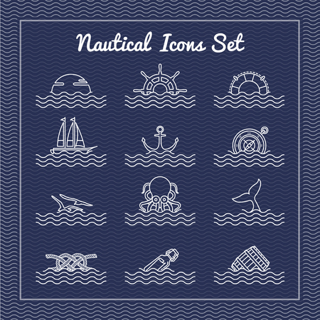 Nautical icons set with wave background