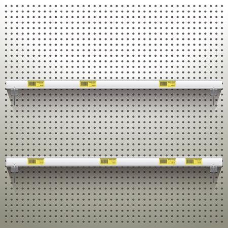 ワーク ショップの背景の棚と価格のタグで白ペグボード