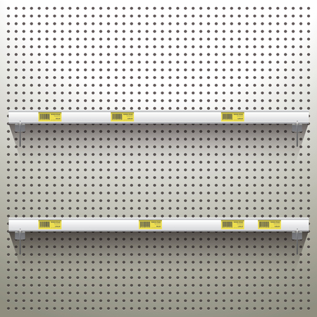 White Pegboard in workshop Background with shelves and price tags Reklamní fotografie - 40509040