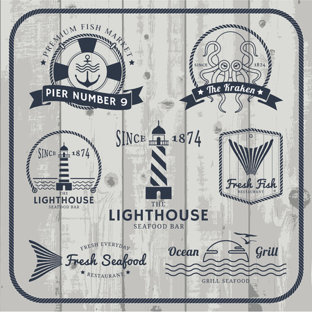 Nautical and seafood labels set with rope frame on gray wood background. Vectores