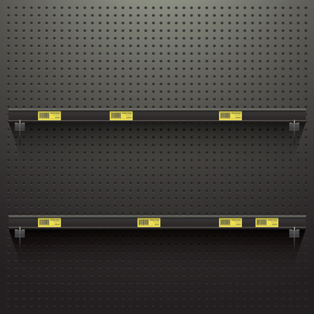 Dark Pegboard in workshop Background with shelves and price tags